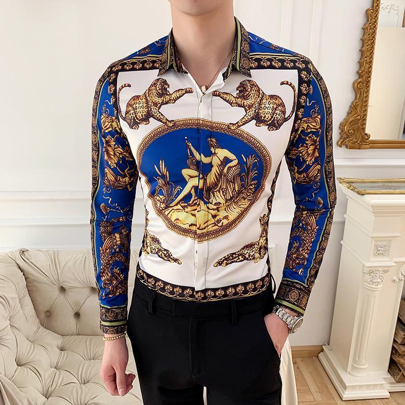 남성 드레스 셔츠 흰색 긴 소매 높은 품질 캐주얼 셔츠 슬림핏 남성 봄 패션 플러스 사이즈 인쇄