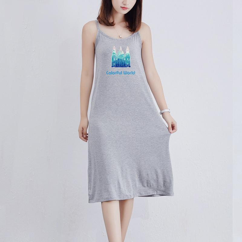 2020 new women's dress fashion summer new breathable trend casual half-length skirt with letter printed pattern simple suspender dress-2