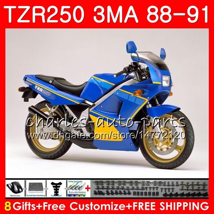 Cuerpo para YAMAHA TZR-250 3MA TZR250 88 89 90 91 118HM.23 TZR250RR TZR250 RS RR YPVS TZR 250 1988 1989 1990 1991 Kit de carenado azul brillante