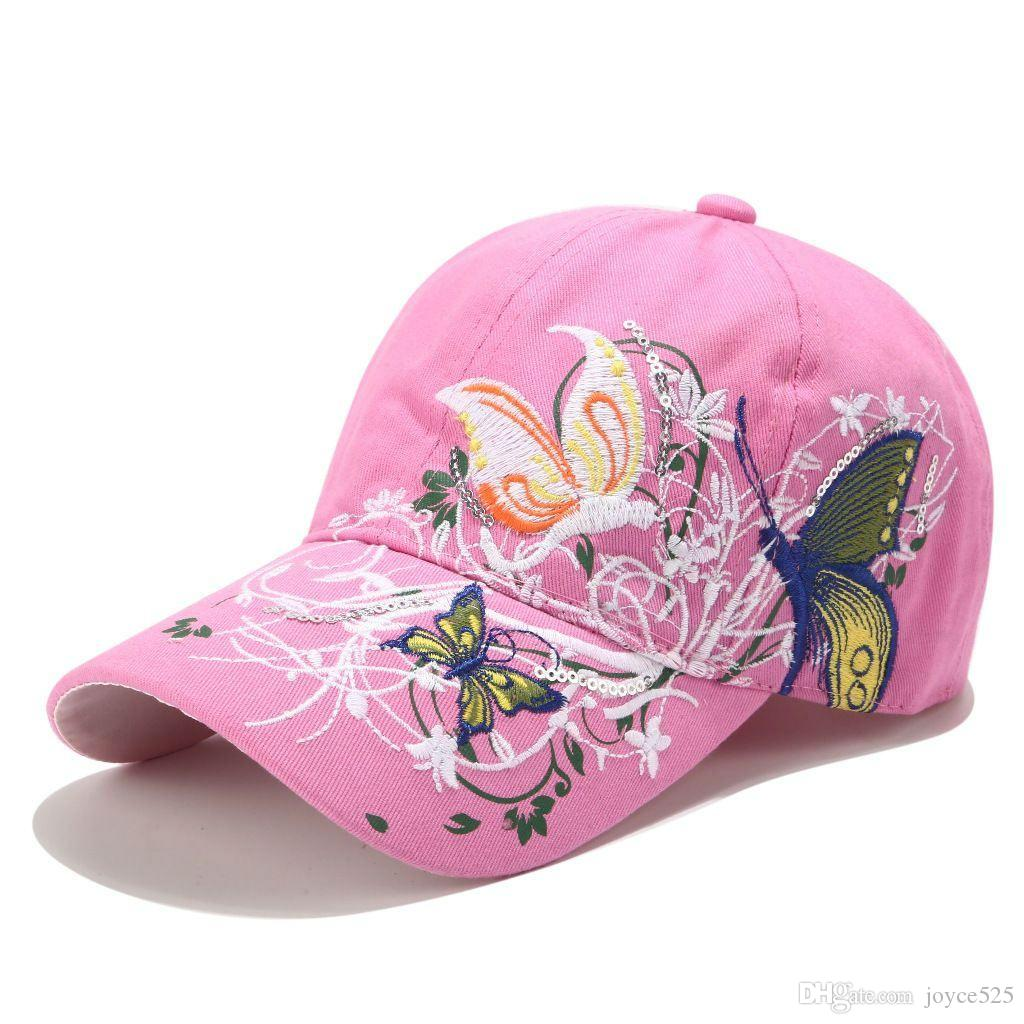 Новый регулируемых девушки мальчик Регулируемых Snapbacks Бейсболка женских Lady Цветы бабочки вышитых Hat Оптового высокого качества