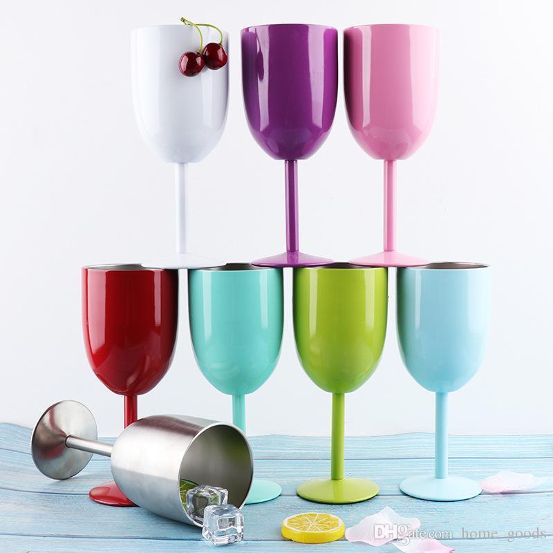 Acero inoxidable Goblet copas de vino 10oz tazas de agua para el vaso de cóctel botella tazas con tapa de aislamiento por vacío para la boda del partido del regalo de Navidad