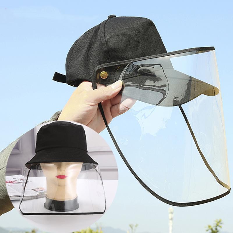 careta DHL libre envía el plástico con el sombrero de béisbol extraíble cara anti-Escupir Splash completa protección de la máscara de la máscara protectora transparente