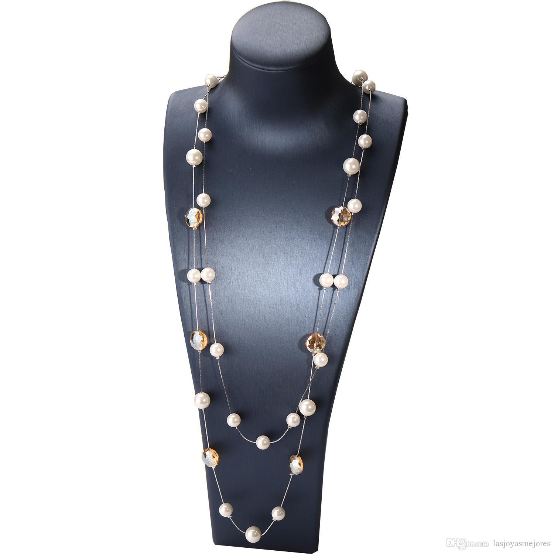 Модельер роскошный классический стиль сверкающий кристалл элегантный жемчужно многослойное ожерелье заявление длинный свитер для женщин