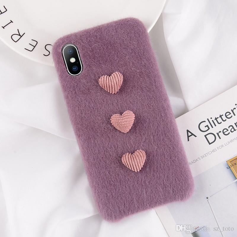 YunRT Lovebay Furry Phone Case For iPhone X XS XR XS MAX Soft PU Cover Winter Warm Plush 3D Love Heart Cases For iPhone 7 8 6 6S Plus