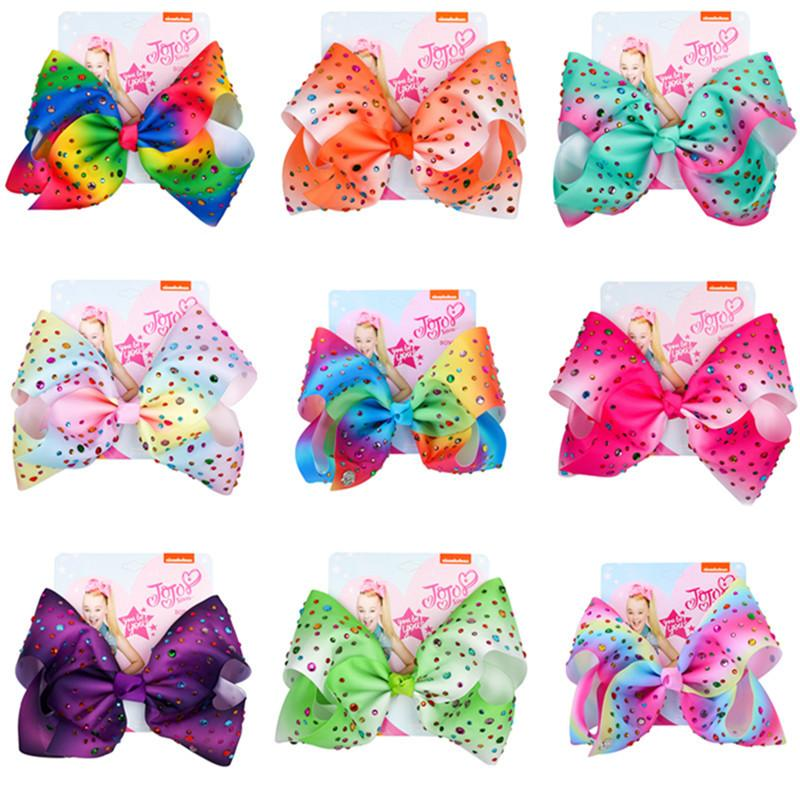ns Baby 8 Inch Bow Cute Bowknot Hairpin With Diamond Dot Girl Large Bowknot Barrette Colorful Butterfly Hair Clip Accessories INS Sale