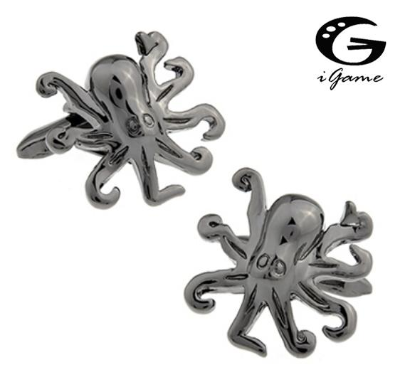 iGame 3 Colors Option Silver Golden Black Men's Fashion Cufflinks Brass Material Octopus Design Cuff Links Factory Price Retail