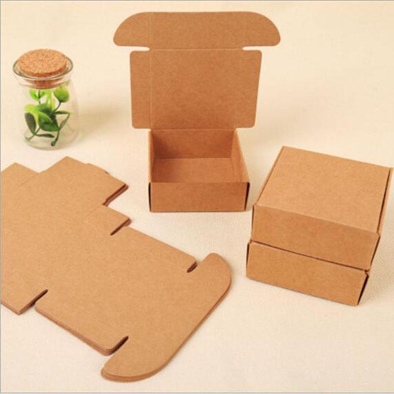 Impression numérique Joy Kraft Carton Boîtes main Emballage Boîte Handmand emballage cadeau Kraft 2 boîtes Taille peut choisir