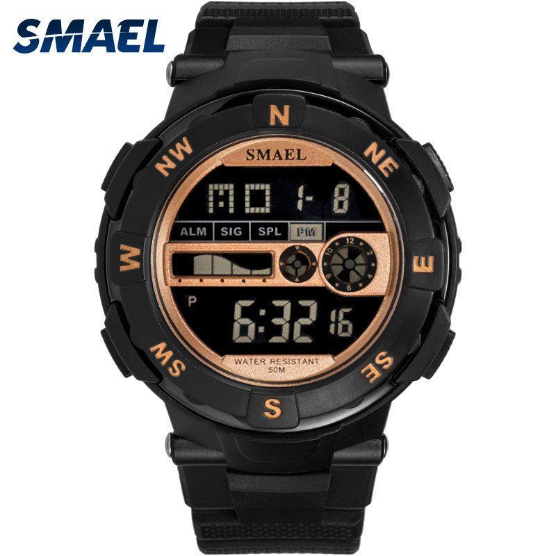 Digital Men Watch SMAEL Sport Watches LED Male Clocks Waterproof Men's Relojes 1361B Black Wristwatches Casual Electronics Watch