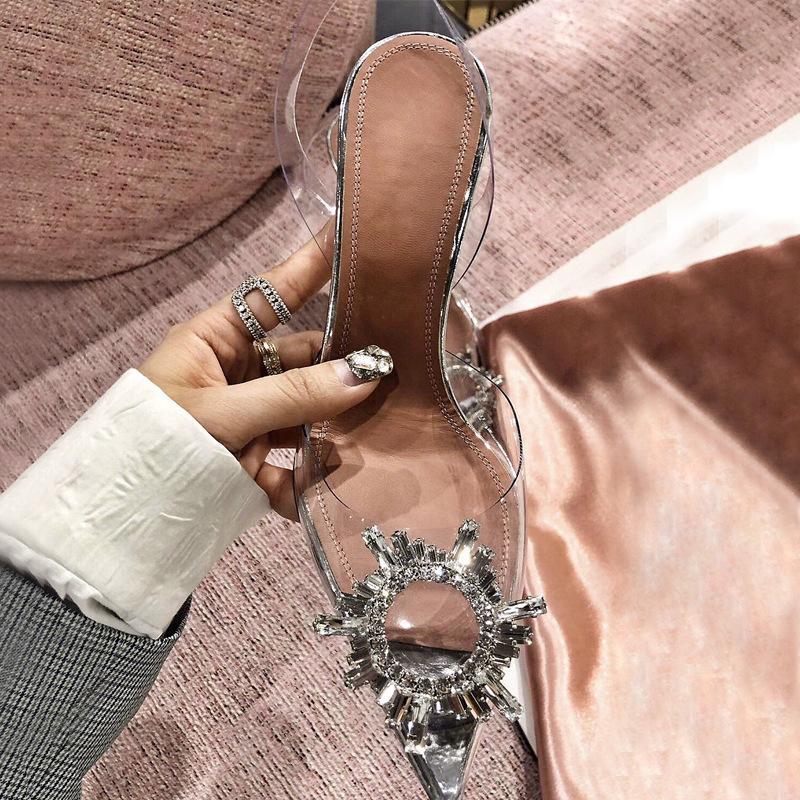 Hot trasparente vetro vino PVC estate fibbia signore cristallo di diamante Vendita-nuovo con i sandali a punta signore signore sexy scarpe da sposa Party # 10