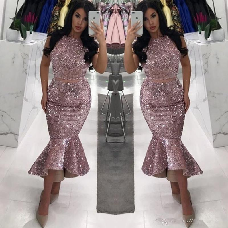 Rose Pink Sequined Cocktail Prom Dresses Plus Size Mermaid Evening Gowns Club Party Dress Saudi Arabic Women Formal Wear