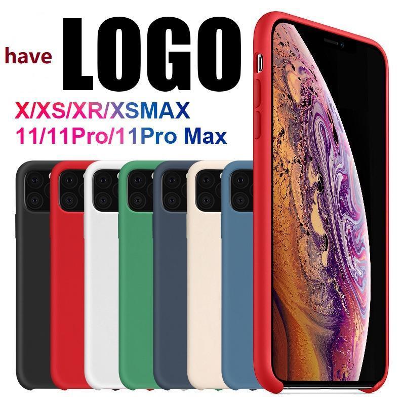 아이폰 (11) 프로 맥스 액체 실리콘 케이스 커버를 들어 iPhone11 X XR XS 최대 소매 패키지 로고 원래 실리콘 케이스를 가지고