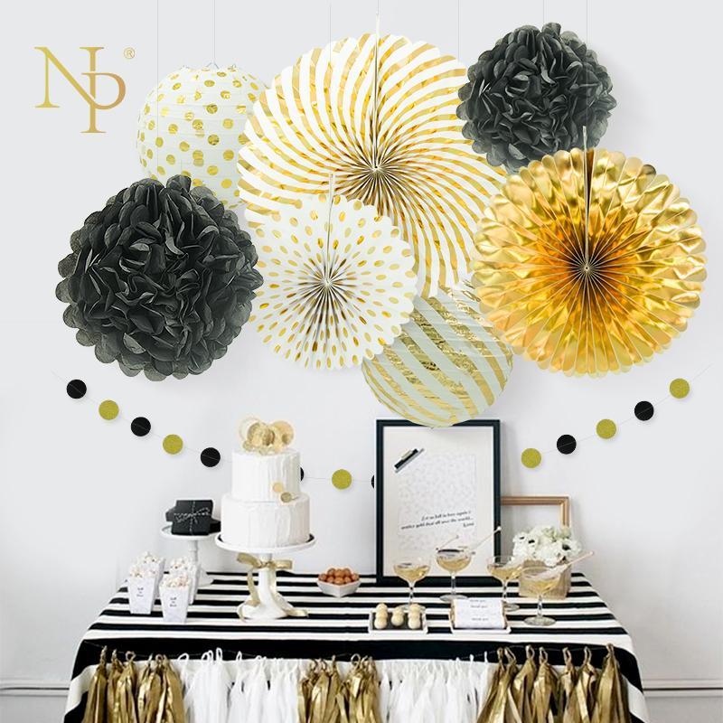 Acheter Nicro Nouvel An Mixte Or Noir Blanc Parti Papier Fleur Lanterne Gland Guirlande Diy Bapteme Parti Decoratif Fournitures T190709 De 21 51 Du