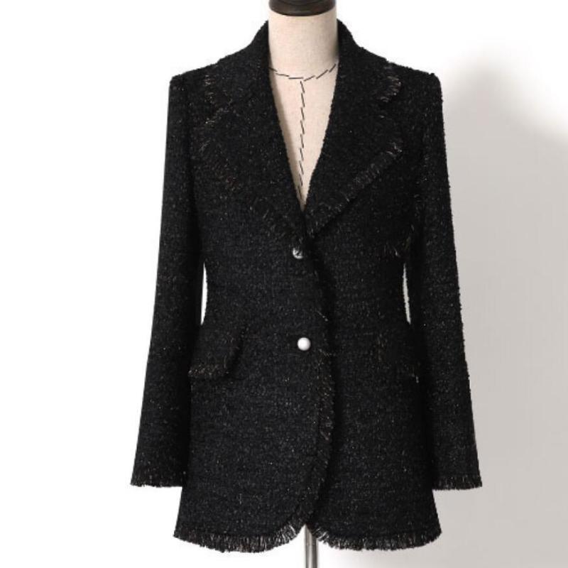 vintage small fragrance tweed black blazer women notched slim single breasted suit jacket