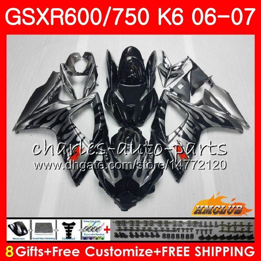 Body Sillvery Flames för Suzuki GSX R600 GSX R750 GSXR600 2006 2007 8HC.6 GSX-R600 GSXR-750 K6 GSXR 600 750 06-07 GSXR750 06 07 Fairing Kit