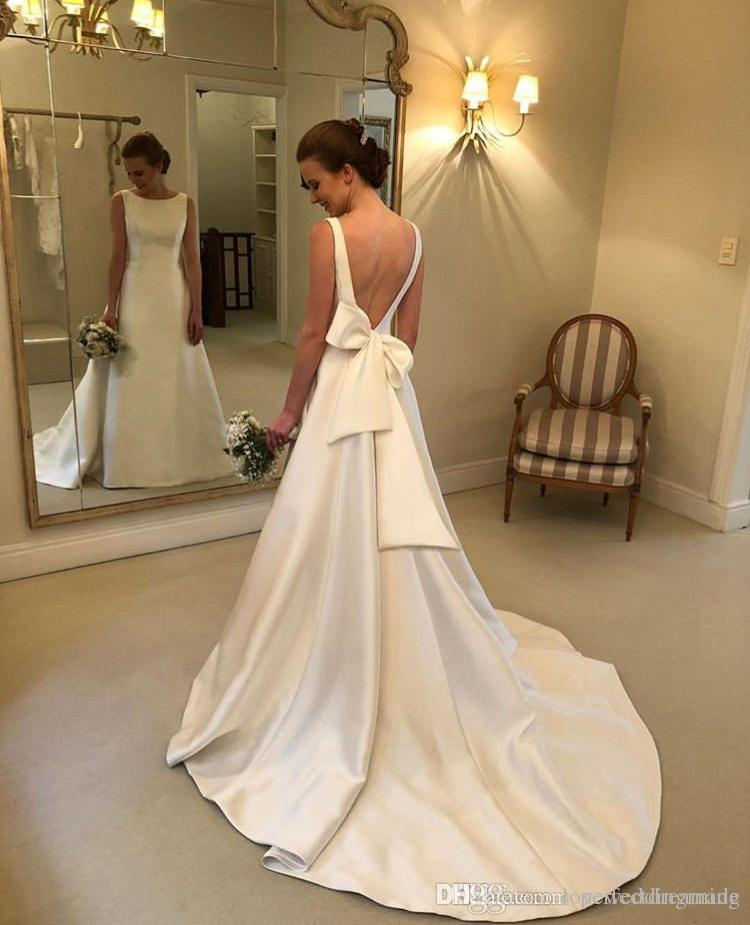 Custom Made Plus Size Wedding Dresses With Satin Back Bow Floor Length A Line Wedding Bridal Gown Cheap