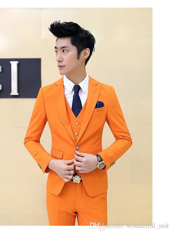 2019 3PC Vestito degli uomini arancione Brand New Slim Fit Affari Abiti formali smoking di alta qualità abito da sposa abiti uomo Casual Costume Homme
