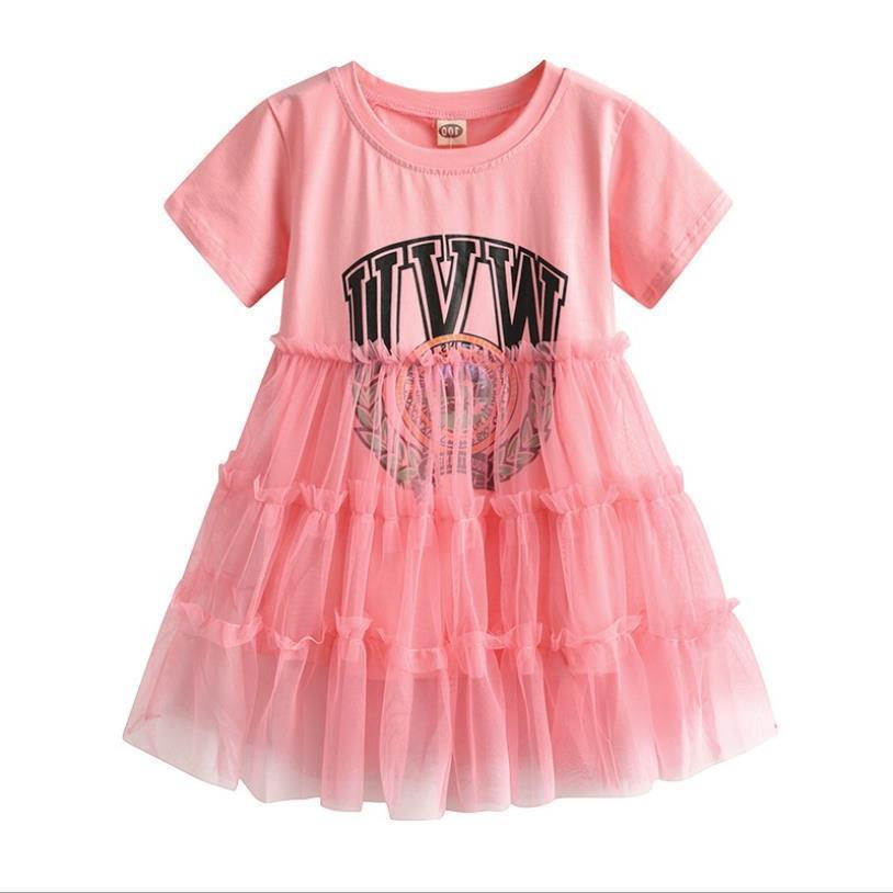 Vestido de patchwork de malla para bebés niñas 2019 Vestido de algodón con estampado nuevo de verano para niños Ropa Vestido para adolescentes 3-10y Ws865