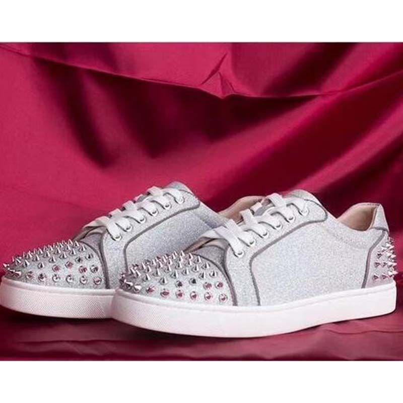 taladro del clavo de las zapatillas de deporte inferiores rojos de bajo-top zapatos casuales zapatos del punto Luxus gamuza para hombres y mujeres los zapatos del partido de cuero cristalina de triple y1 las zapatillas de deporte