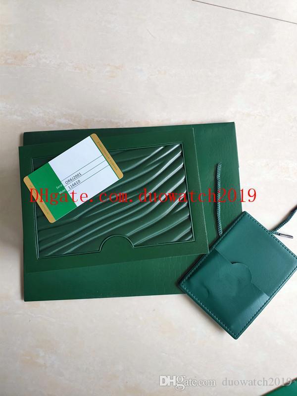 بيع مجانا عالية الجودة ووتش مربع مع حقيبة سوبر ووتش مربع الأوراق الخضراء رجالي هدية الساعات صناديق حقيبة جلدية بطاقة 0.8KG