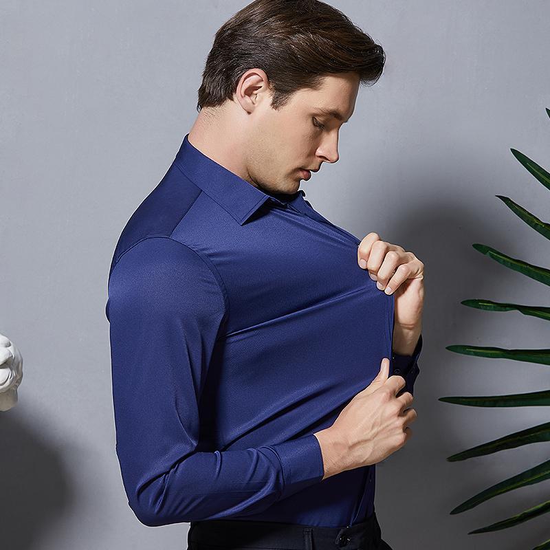 Lange Hülsen-Art New Stretch Fashion Solid Plain Schwarz-Weiß-Hemd Vetements Männer Button-Down-Smart Casual Dressxxxxxl MX200518