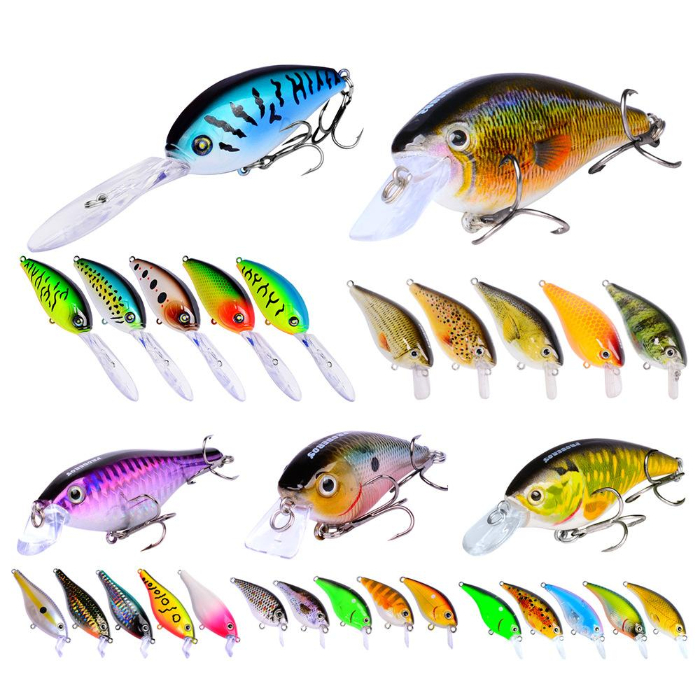 Mélanger les appâts de pêche suspendre Squarebill Crankbaits 5styles Topwater Shallow Diving Deep Diver appâts réaliste leurre