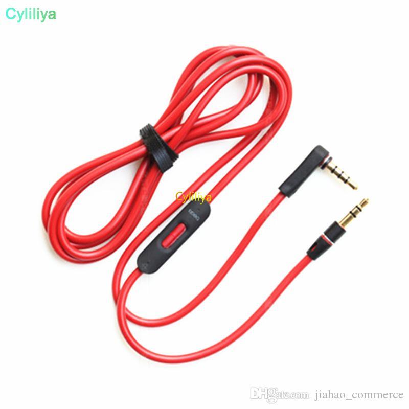 Erkek 50pcs Kontrol Talk ve MIC Uzatma Ses AUX Erkek Stüdyo Heaphones için 3,5 mm Yedek Kırmızı Kabloları