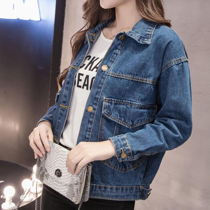 Jeansjacke Damen Big Size Studenten Sommer Basical Knopf Tasche Mantel Blau Wash Dye Plus Size volle Hülsen 2019Spring FashionMX190928