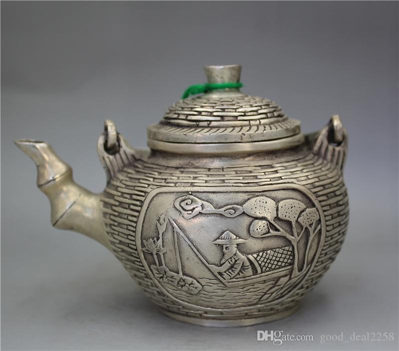 Colección de plata tibetano trabajo hecho a mano tallada hombre peces vieja tetera w Qianlong Marcos