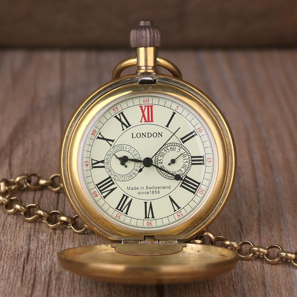 Relógio de bolso mecânico de Londres da liga dos homens do relógio de cobre retro do vintage com a corrente Steampunk romana do metal