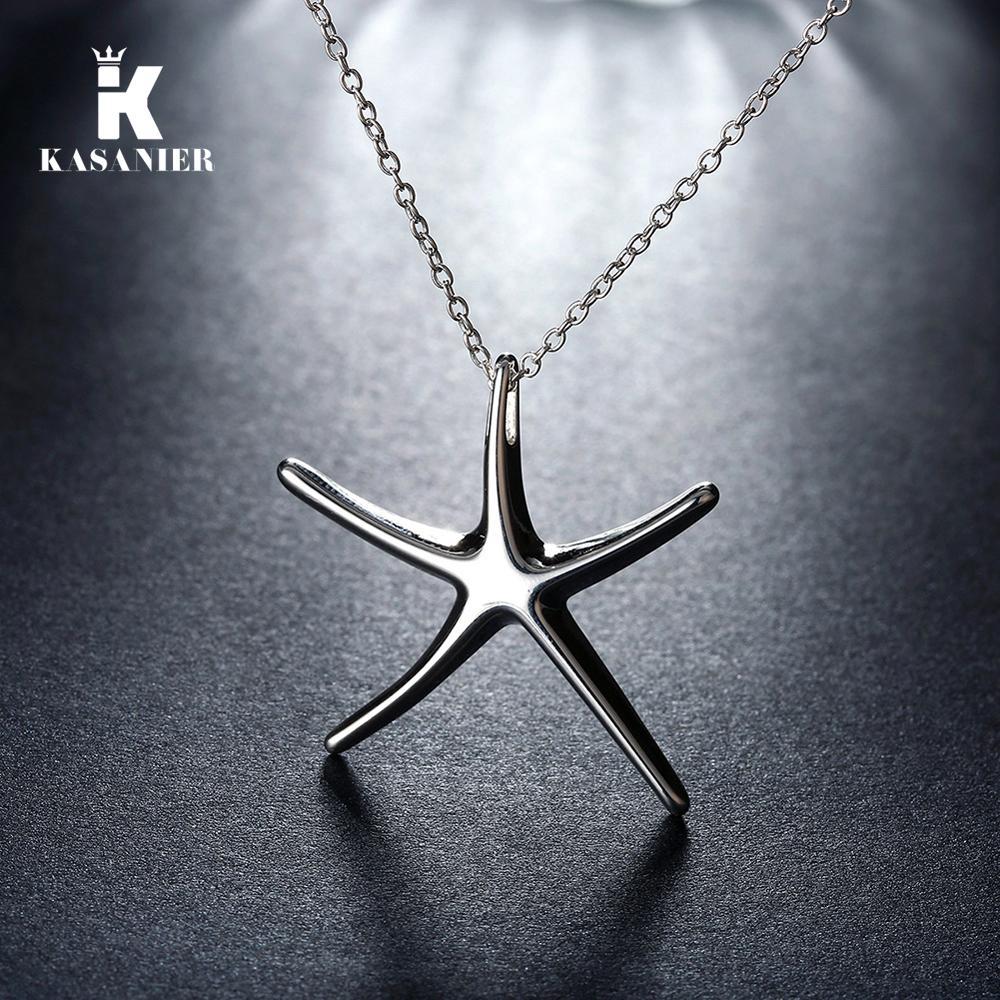 925 silberne Halskette Schmuck Art und Weise nette dynamische Sternstarfish Anhänger Schlange Halskette Edler Anhänger Halskette hübsches Mädchen