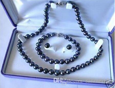 Frauen Fashion Jewelry Charming! 7-8mm schwarze Perlenkette Armband Ohrring Frauen heißen Verkauf Schmuck Groß- und Kleinhandel