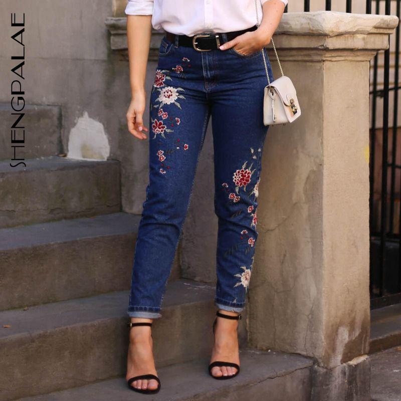 SHENGPALAE 2020 Новая весна Повседневный джинсы женщина Длинные брюки ковбой Женский Сыпучие Streetwear Вышитые высокой талией 2789