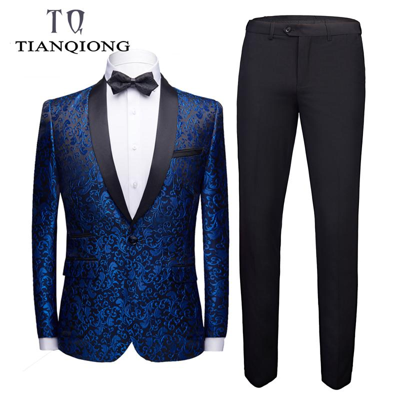 ( Jacket + Pants ) 2019 Man's Suit Groom Dress Singer Master of Ceremonies Host Stage Show Serve Clothing Mens Suits Wedding