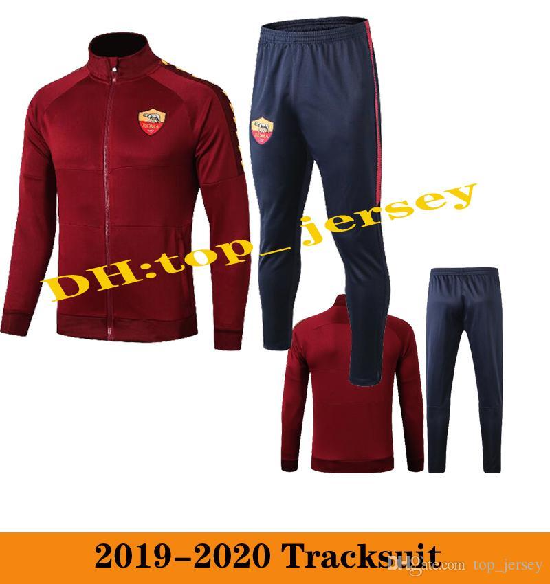 2019 2020 Roma спортивный костюм футбольный пиджак Chaqueta de fútebol 19 20 полный тренировочный костюм молния пиджак футболка TOTTI DE ROSSI AS ROMA