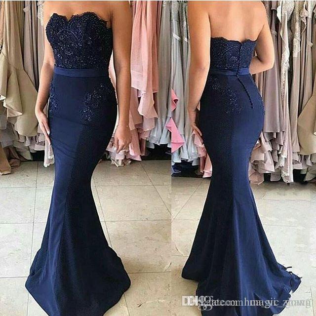 Compre Vestidos De Noche Elegantes De Sirena Azul Marino Vestidos Largos De Novia Vestidos De Fiesta Con Lentejuelas Vestidos Elegantes Vestidos De