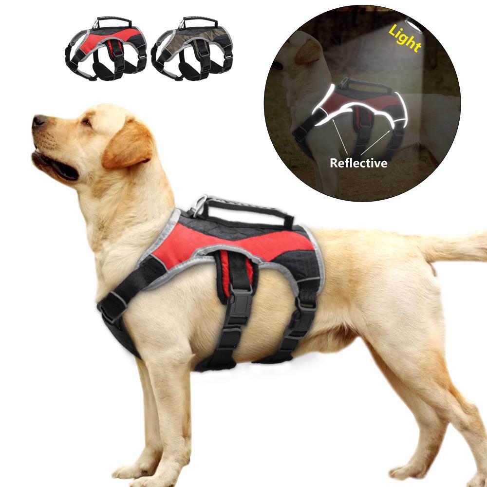 Labrador Golden Retriever İçin Asansör Saplı Ayarlanabilir Yansıtıcı Naylon Büyük Köpek K9 Harness Mesh yastıklı Köpek Eğitimi Yelek