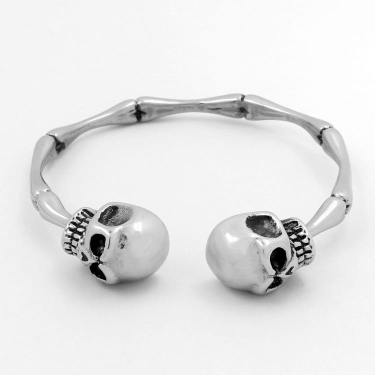 2020 neue europäische und amerikanische übertriebene Schädel-Knochen-Titanstahlarmband der Männer Großer Schädel Schmuck Bambus Armband-Großverkauf US-Größe