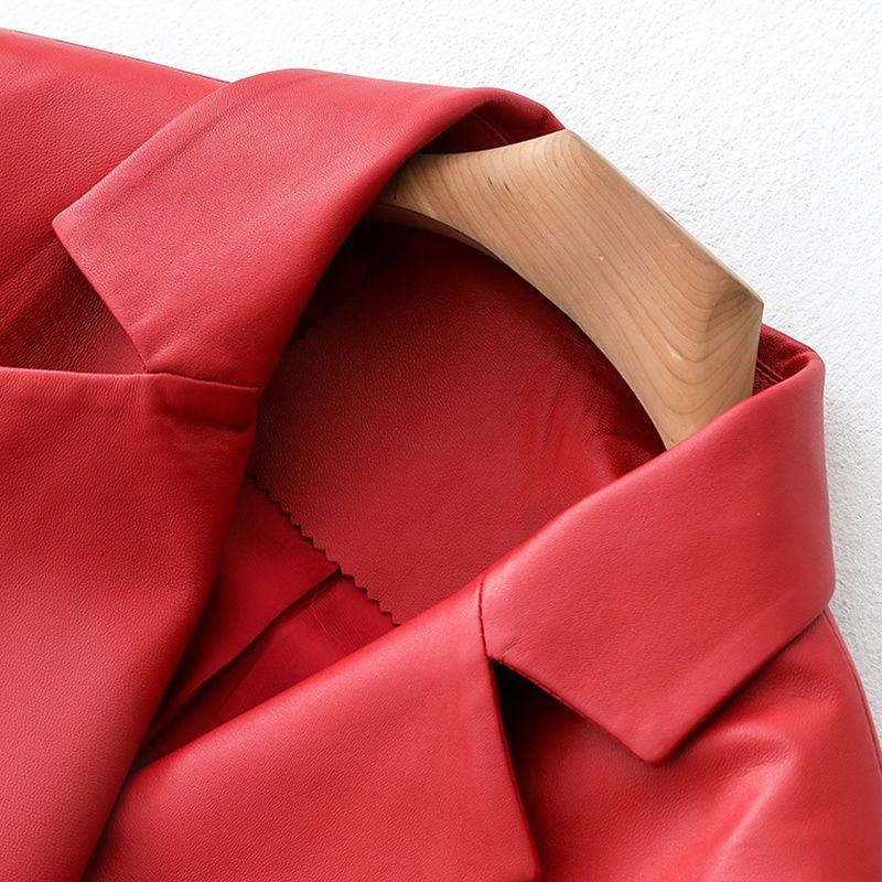 das mulheres casaco de pele real revestimento de couro genuíno Roupa mulher 2020 Primavera Outono coreano elegante casaco de pele Red Tops ZT2269