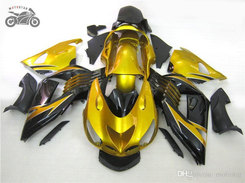 Injection bodywork fairings set for 2006 2007 2008 Kawasaki Ninja ZX14R 06 07 08 ZX-14 ZX 14R golden Chinese fairing bodywork