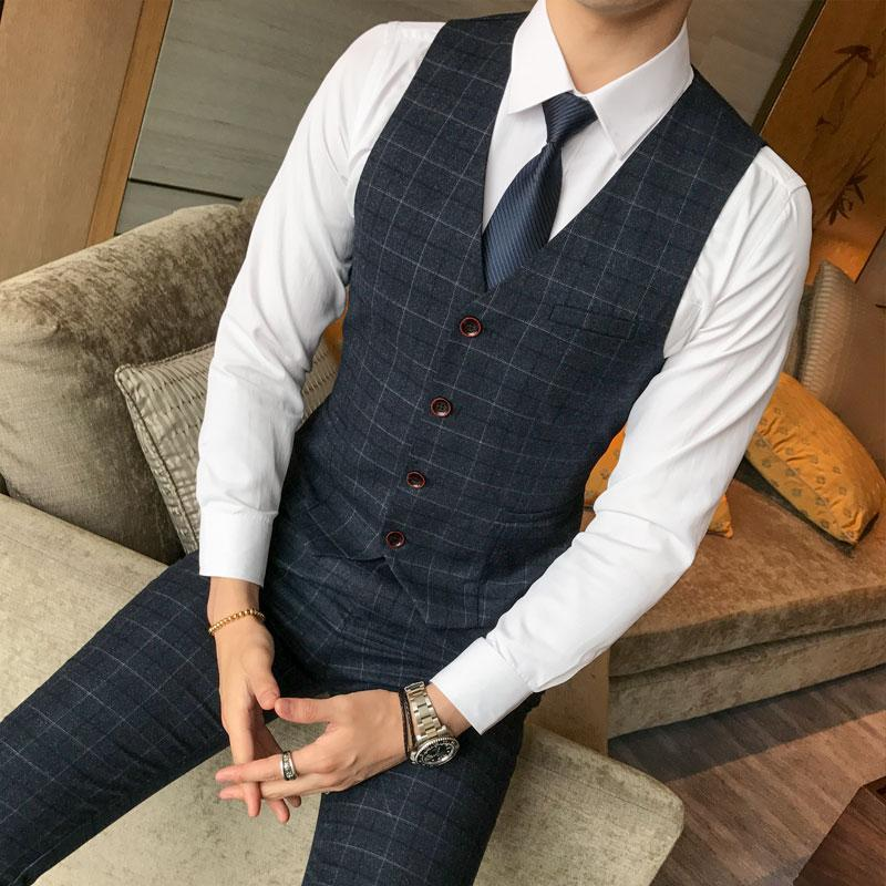 (Chaleco + Pantalones) Conjunto de 2 piezas Hombre Moda A cuadros Delgado Traje de negocios informal Chaleco y pantalones Novio Vestido de novia Pantalones formales