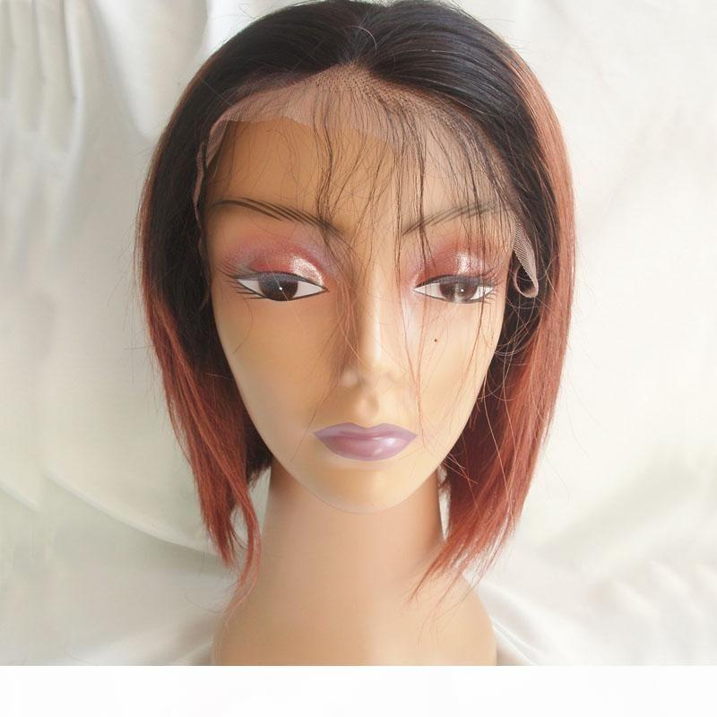 İki Ton Ombre Tam Dantel İnsan Saç Peruk T1b 33 Düz Perulu Bakire Saç BOB% 150 Yoğunluk Dantel Açık Peruk