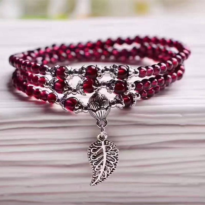Commercio all'ingrosso vino rosso granato pietra naturale bracciali perline argento tibetano ciondolo foglia donne bellezza braccialetto gioielli multistrato j190620