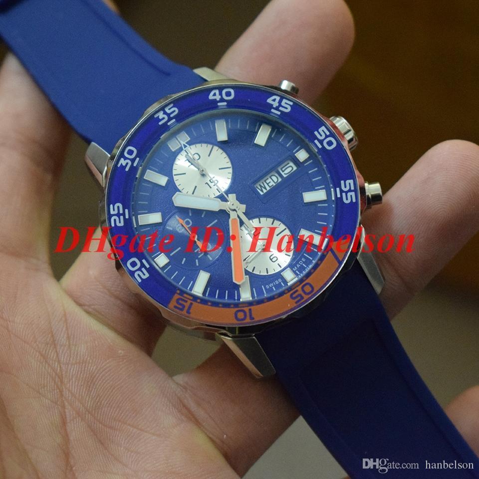 YENI Erkekler kauçuk kayış İzle AILE 376704 GÜN TARİH Mavi kadran Paslanmaz çelik kasa VK kuvars hareketi Çok fonksiyonlu kronograf