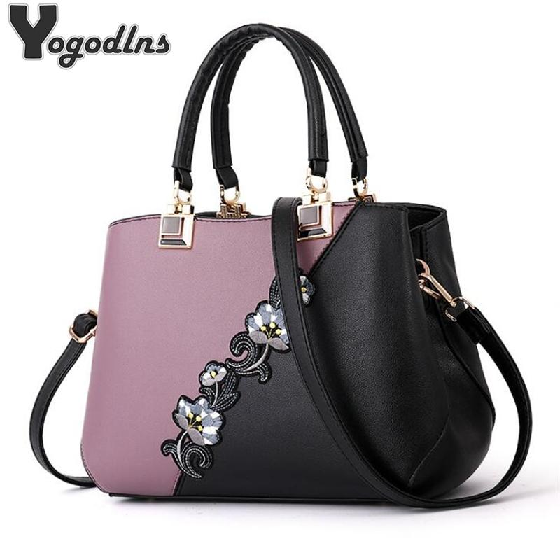 Fashion Women Handbags PU Leather Embroidery Bags Brand Luxury Shoulder Bag Hit Color Top-handle Hand Bags Flower Messenger Bag MX200327