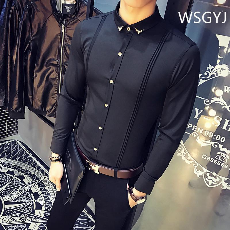 Camicia convenzionale coreano Slim Fit Tuxedo shirt maschio di marca a manica lunga Rosso Nero Bianco Camice casuali Camisa Masculina