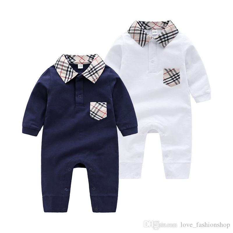 Retail Newborn Baby lapel plaid Cotton Romper 0-1Y Rompers Toddle baby bodysuit Children one-piece onesies Jumpsuits climbing clothes