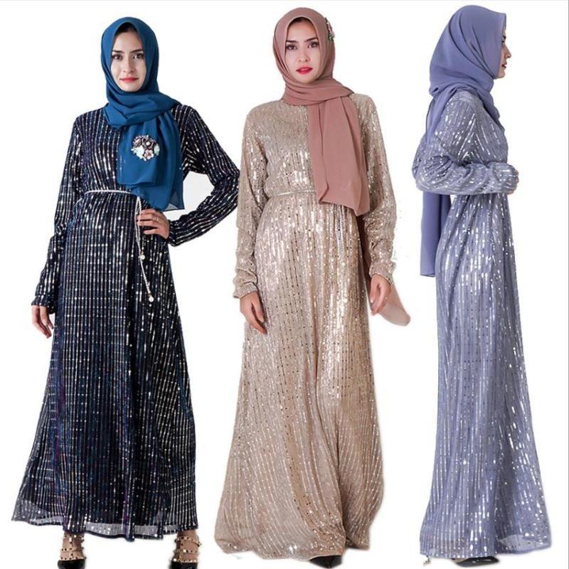 Muslim adult full sequined beading abaya Arab Fashion Turkey Middle East Dresses Musical Robe Ramadan abaya F988 with belt