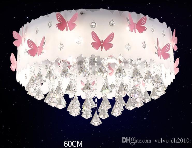 크리스탈 어린이 방 램프 둥근 천장 마스터 침실 램프 여자 공주 따뜻한 낭만적 인 창조적 인 결혼 룸 램프 LLFA
