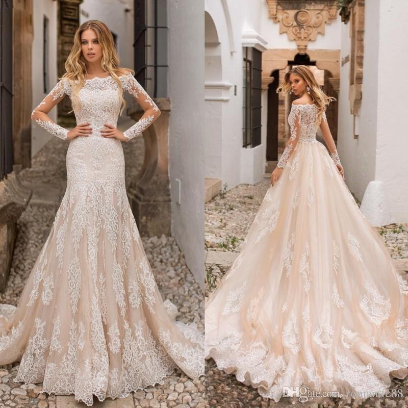 2019 Overskirts Mermaid 웨딩 드레스 샴페인 분리형 기차 긴 소매 오프 어깨 중동 전체 레이스 플러스 사이즈 신부 가운