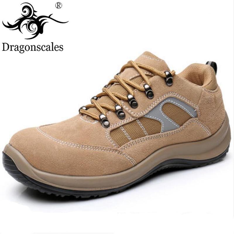 Erkek Emniyet Delinme geçirmez Ayakkabı Çelik Burunlu Cap Kayma Nefes Yumuşak Deri Sitesi Koruyucu Ayakkabı Rahat Işık Ve Güvenli